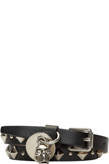 Alexander McQueen - Black Leather Studded Double-Wrap Skull Bracelet