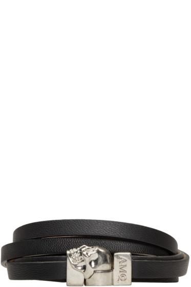 Alexander McQueen - Black Leather Double-Wrap Skull Bracelet