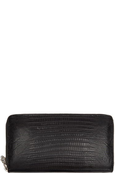 Alexander McQueen - Black Lizard-Embossed Continental Wallet