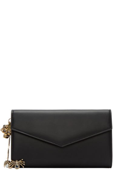 Alexander McQueen - Black Leather Charm Wallet