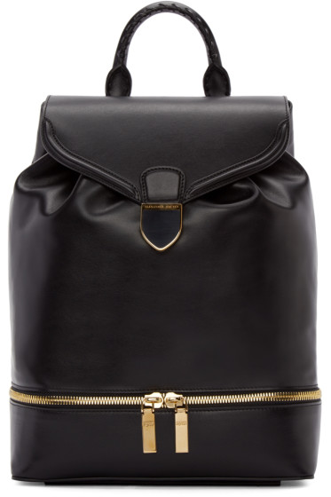 Alexander McQueen - Black Leather Large Backpack