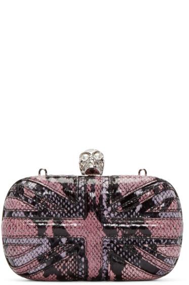 Alexander McQueen - Pink Snakeskin Britannia Skull Clutch