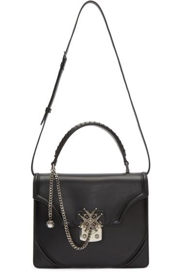 Alexander McQueen - Black Leather Jewel Cross Lady Satchel