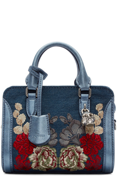 Alexander McQueen - Blue Denim Embroidered Mini Padlock Tote