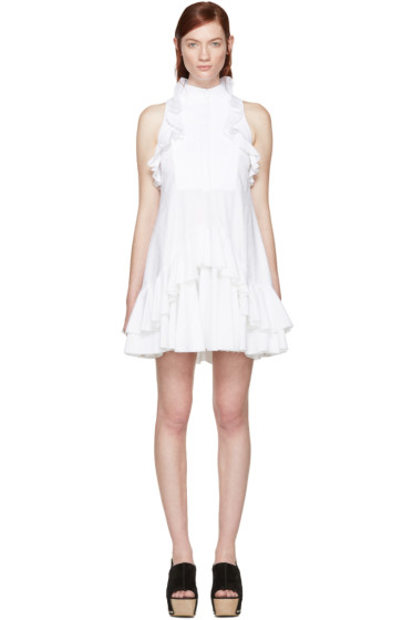Alexander McQueen - White Jacquard Ruffled Dress
