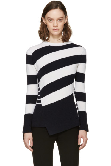 Alexander McQueen - Navy & Ivory Striped Wool Sweater
