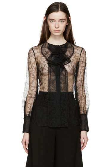 Alexander McQueen - Black Lace Ruffles Blouse