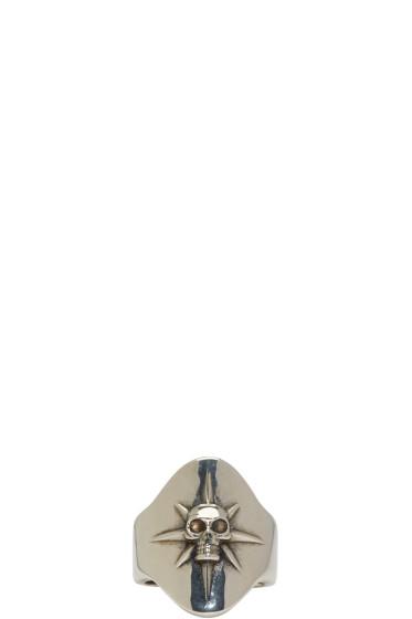 Alexander McQueen - Silver Compass Rose Skull Ring