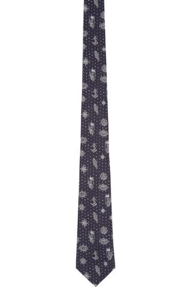 Alexander McQueen - Navy Silk Tattoo Tie