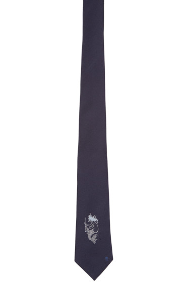 Alexander McQueen - Navy Silk Mermaid Tie