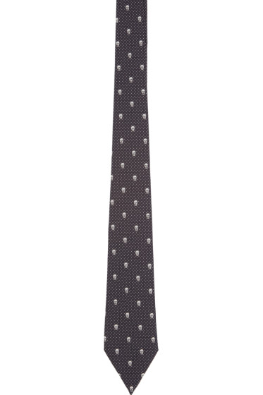 Alexander McQueen - Navy Silk Skull and Dots Tie