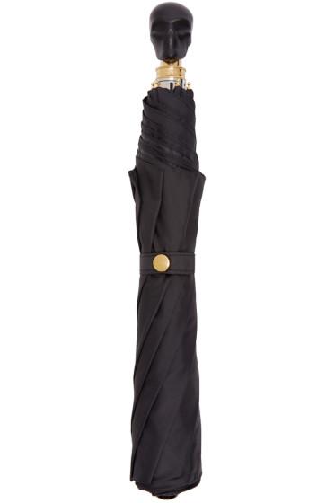 Alexander McQueen - Black Leather Skull Compact Umbrella
