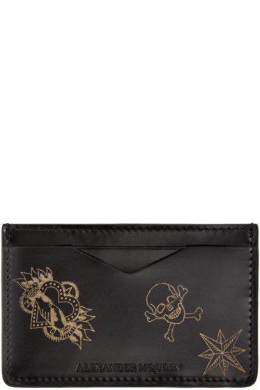 Alexander McQueen - Black Leather Tattoo Card Holder