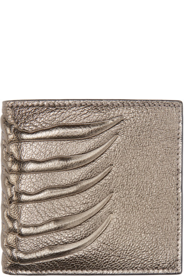 Alexander McQueen - Pewter Leather Ribcage Wallet
