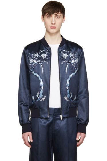 Alexander McQueen - Navy Embroidered Satin Bomber Jacket