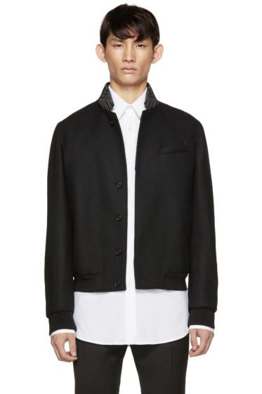 Alexander McQueen - Black Topstitched Collar Bomber Jacket
