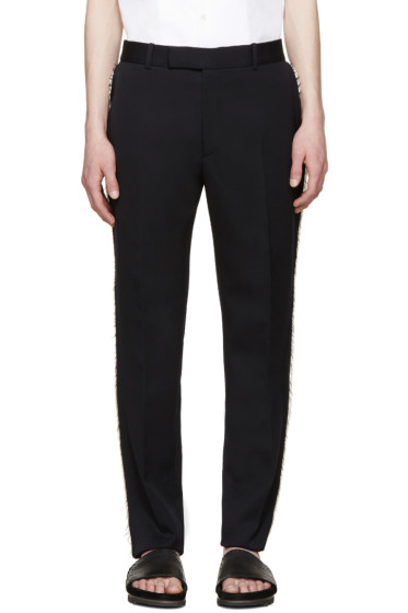 Alexander McQueen - Navy Wool Frayed Trousers