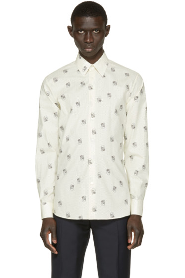 Alexander McQueen - Cream Dot & Skull Print Shirt
