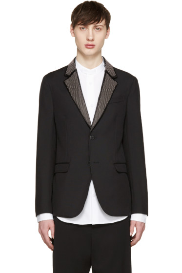 Alexander McQueen - Black Studded Lapel Blazer
