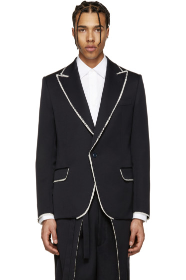 Alexander McQueen - Navy Wool Frayed Blazer