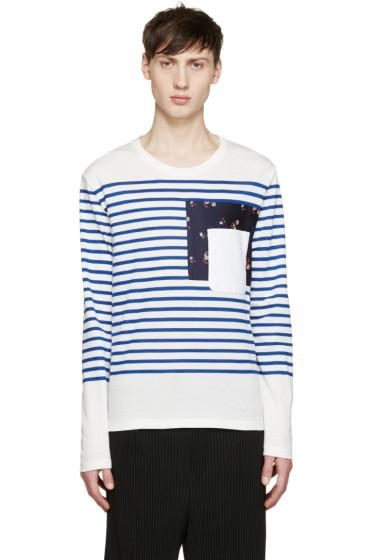 Alexander McQueen - White & Blue Breton Stripe T-Shirt
