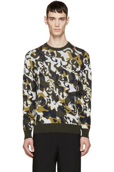 Alexander McQueen - Green & Cream Skull Camouflage Pullover