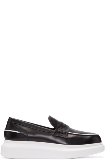 Alexander McQueen - Black & White Leather Penny Loafers