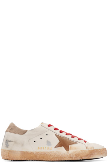Golden Goose - White & Red Superstar Sneakers