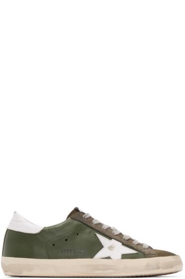 Golden Goose - Green Leather Superstar Sneakers