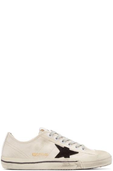 Golden Goose - White Canvas V-Star Sneakers