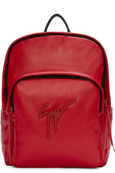 Giuseppe Zanotti - Red Leather Logo Backpack