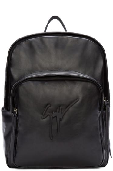 Giuseppe Zanotti - Black Buffed Leather Logo Backpack