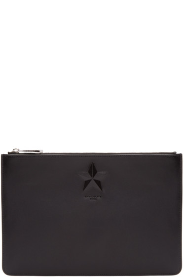 Givenchy - Black Leather Medium Star Pouch