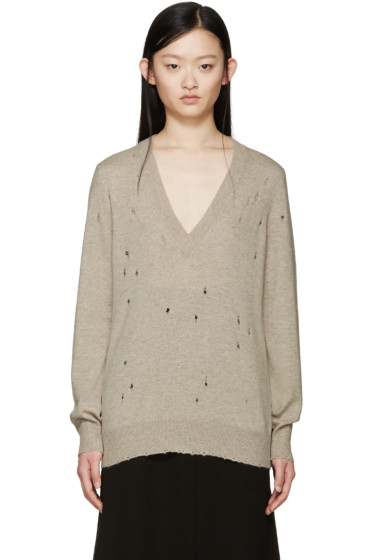Givenchy - Beige Cashmere Distressed Sweater