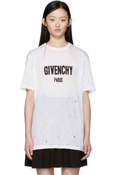 Givenchy - White Distressed Logo T-Shirt