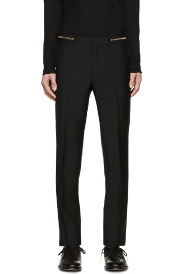 Givenchy - Black Wool Zippered Trousers
