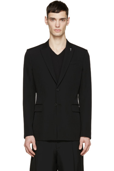 Givenchy - Black Embroidered Cross Blazer