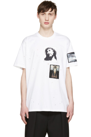Givenchy - White Distressed Jesus Patches T-Shirt