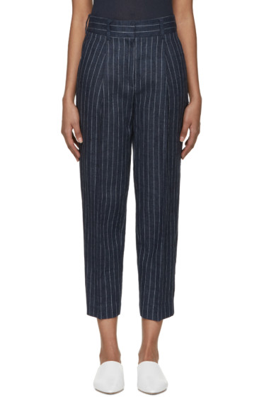 3.1 Phillip Lim - Navy Linen Pinstripe Trousers