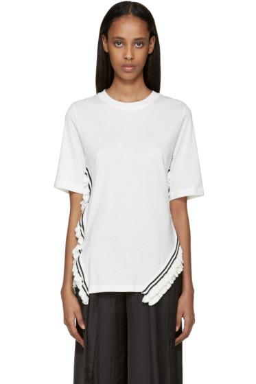 3.1 Phillip Lim - White Ruffle Trim T-Shirt