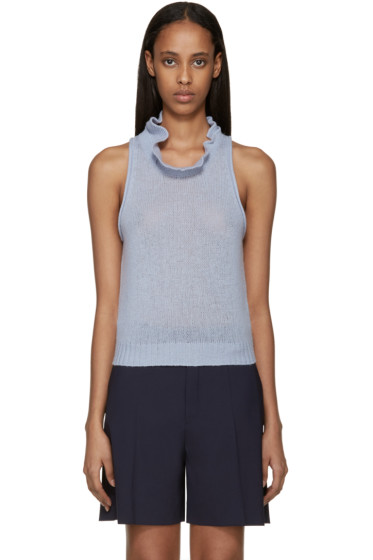 3.1 Phillip Lim - Blue Knit Ruffle Collar Tank Top