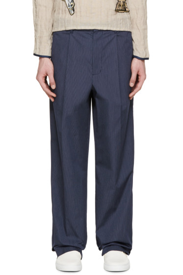 3.1 Phillip Lim - Navy Pinstriped Wide-Leg Trousers