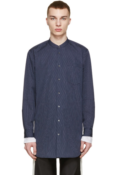 3.1 Phillip Lim - Navy Poplin Pinstriped Shirt