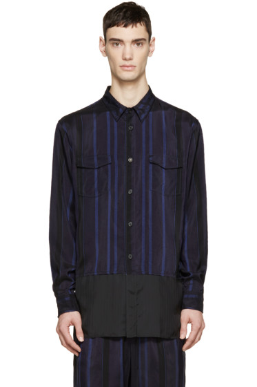3.1 Phillip Lim - Black & Blue Striped Combo Shirt