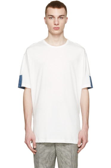 3.1 Phillip Lim - White & Blue Panel T-Shirt