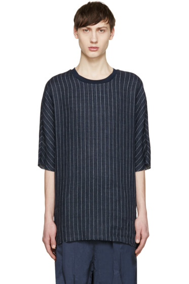 3.1 Phillip Lim - Navy Linen Pinstriped T-Shirt