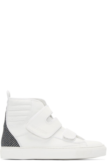 Raf Simons - White Leather Velcro High-Top Sneakers