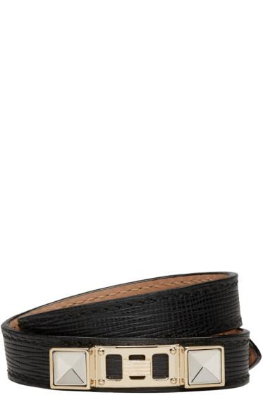 Proenza Schouler - Black Leather PS11 Double-Wrap Bracelet