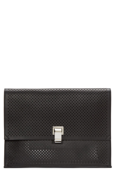 Proenza Schouler - Black Perforated Large Lunchbag Clutch