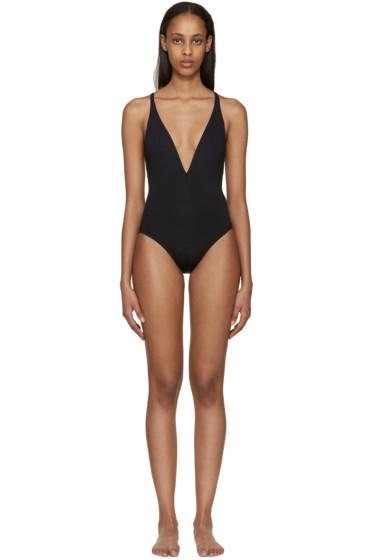 Proenza Schouler - Black Deep-V Swimsuit